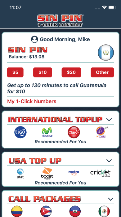 Mobile Recharge International & Domestic Carriers | Sin Pin 1-Click